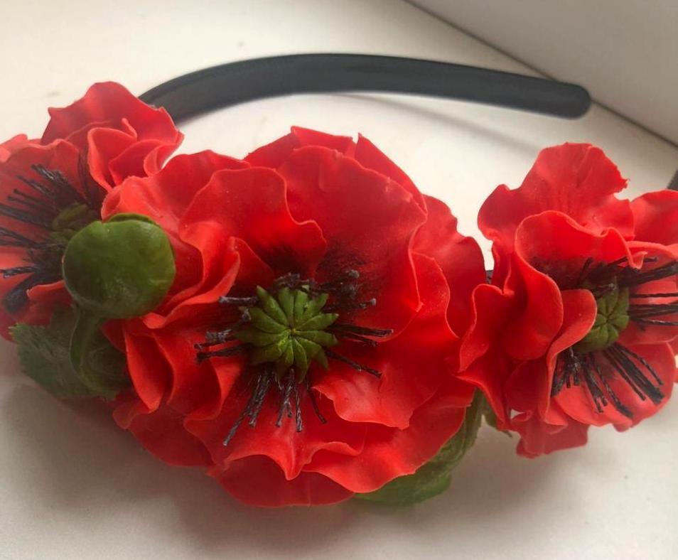 цветы из полимерной глины украшение ободок